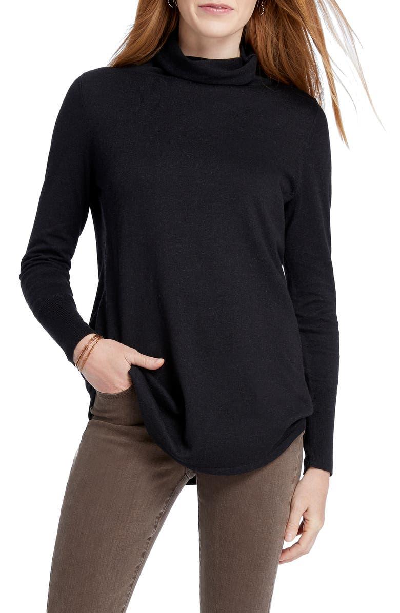 NIC+ZOE It Item Turtleneck Sweater, Main, color, BLACK ONYX