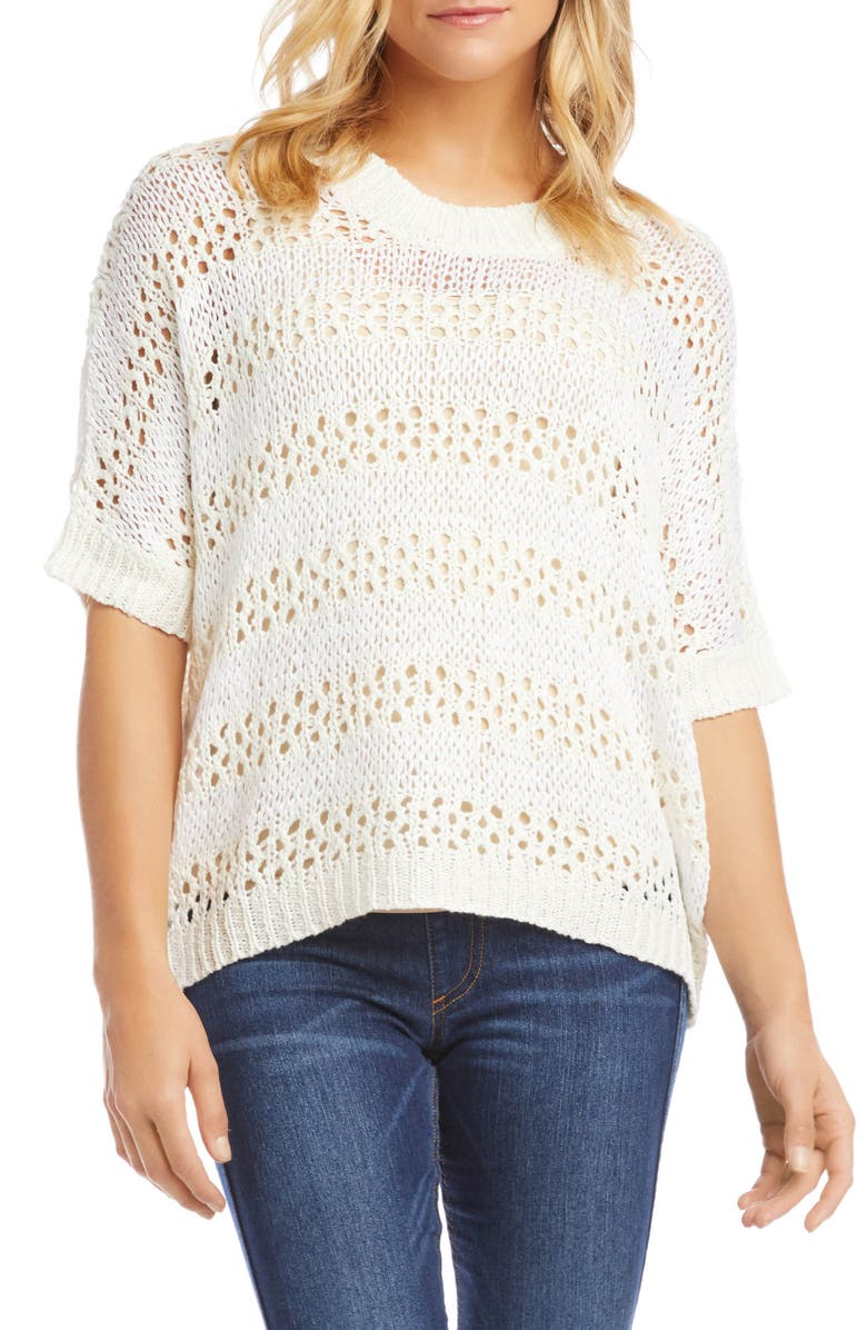 KAREN KANE Crochet Short Sleeve Sweater, Main, color, STRIPE