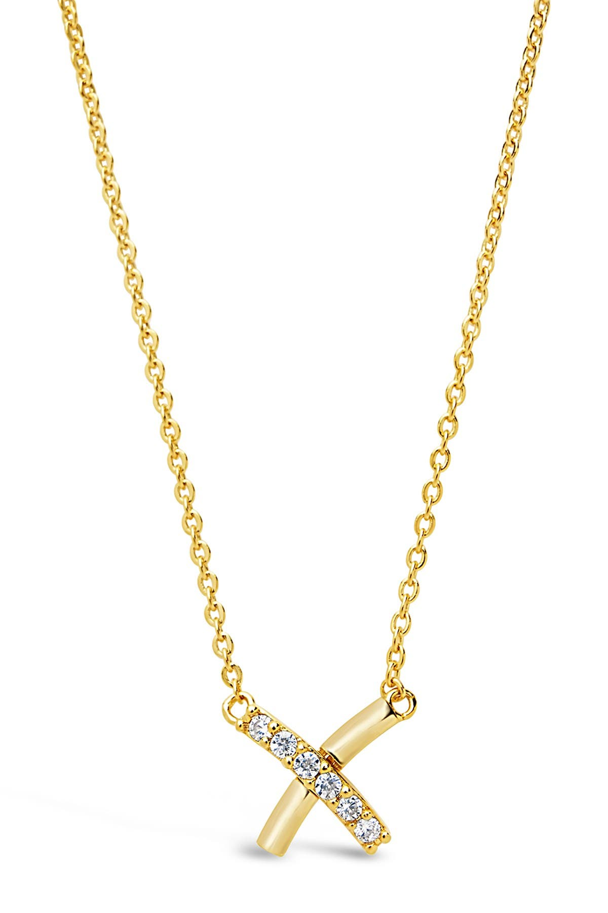 Image of Sterling Forever 14K Yellow Gold Vermeil CZ X Pendant Necklace
