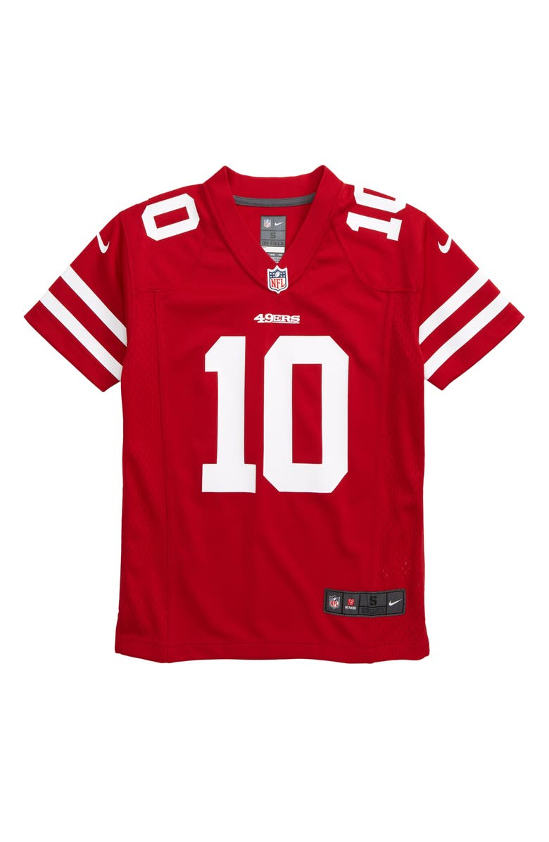 NIKE NFL Logo San Francisco 49ers Jimmy Garoppolo Jersey, Main, color, GYM RED