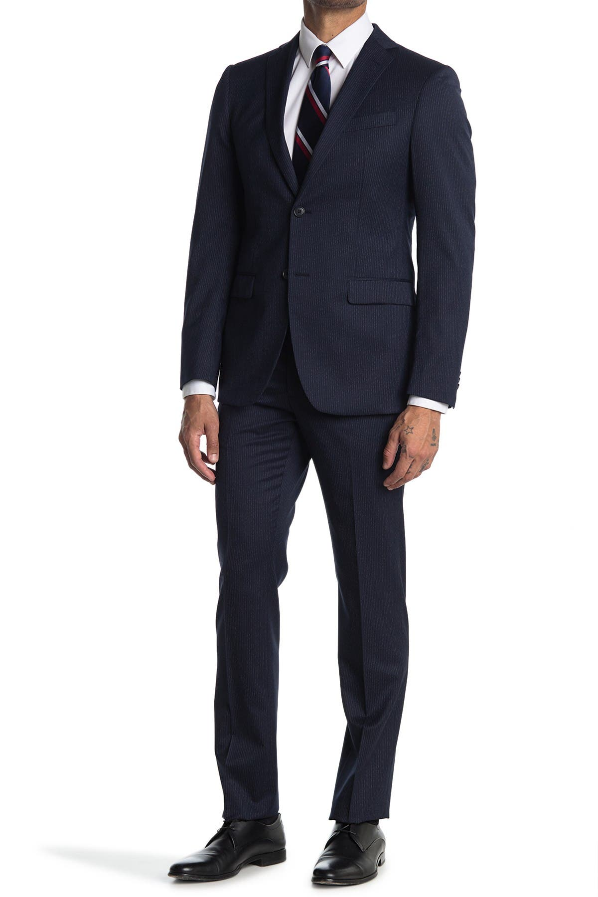 Image of John Varvatos Collection Nested Navy Solid Two Button Notch Lapel Wool Blend Suit