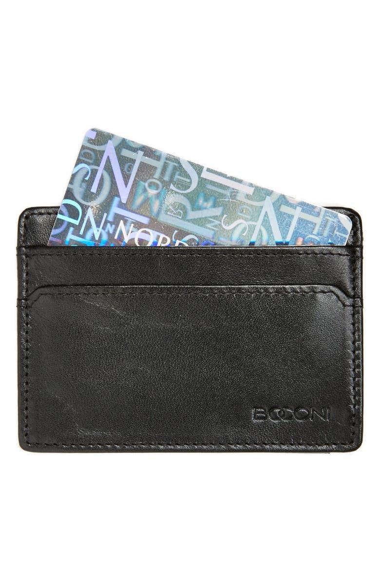 BOCONI Leather Card Case, Main, color, BLACK/ BLUE