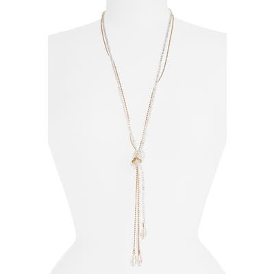 Stella + Ruby Frankie Tie Beaded Lariat Necklace