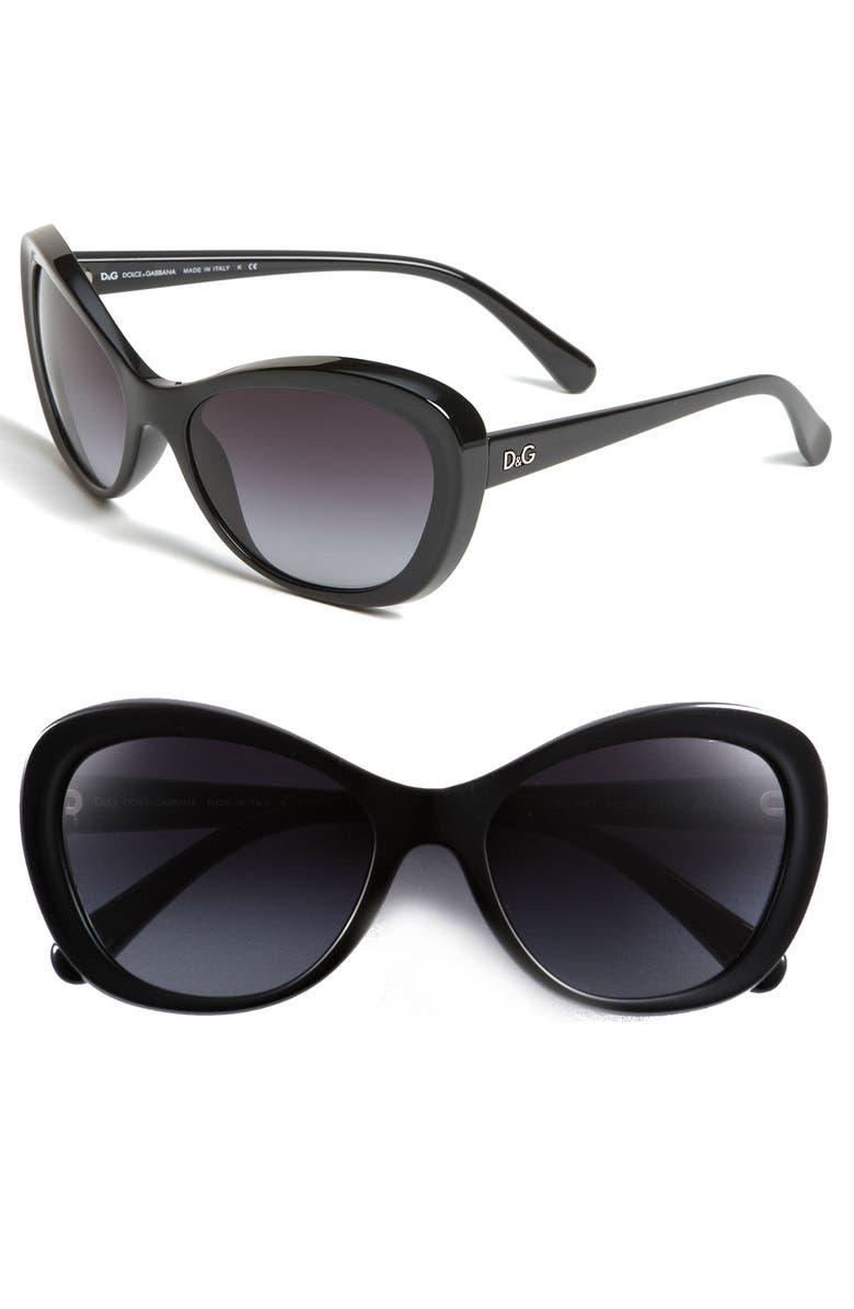 D&G DOLCE & GABBANA D&G Cat's Eye Sunglasses, Main, color, 002