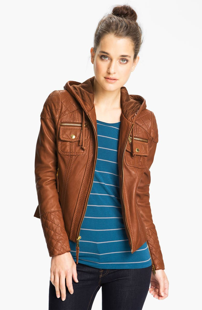 MICHAEL MICHAEL KORS Hooded Leather Jacket, Main, color, 200
