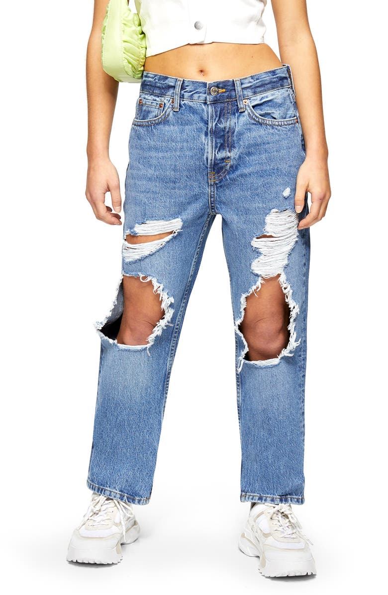 TOPSHOP Ripped Dad Jeans, Main, color, MID STONE
