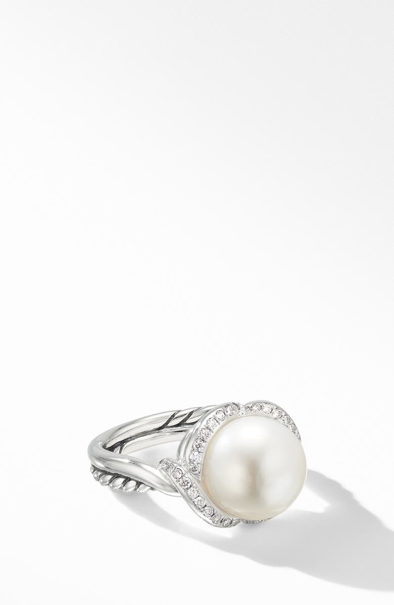 DAVID YURMAN Continuance Pearl Ring with Diamonds, Main, color, PEARL