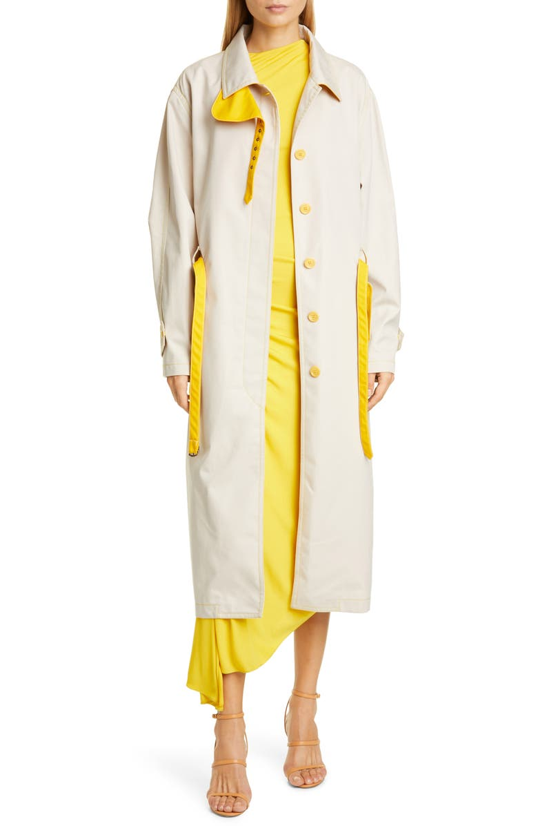 SIES MARJAN Lee Water Resistant Coated Twill Trench Coat, Main, color, SOBA/ CORN