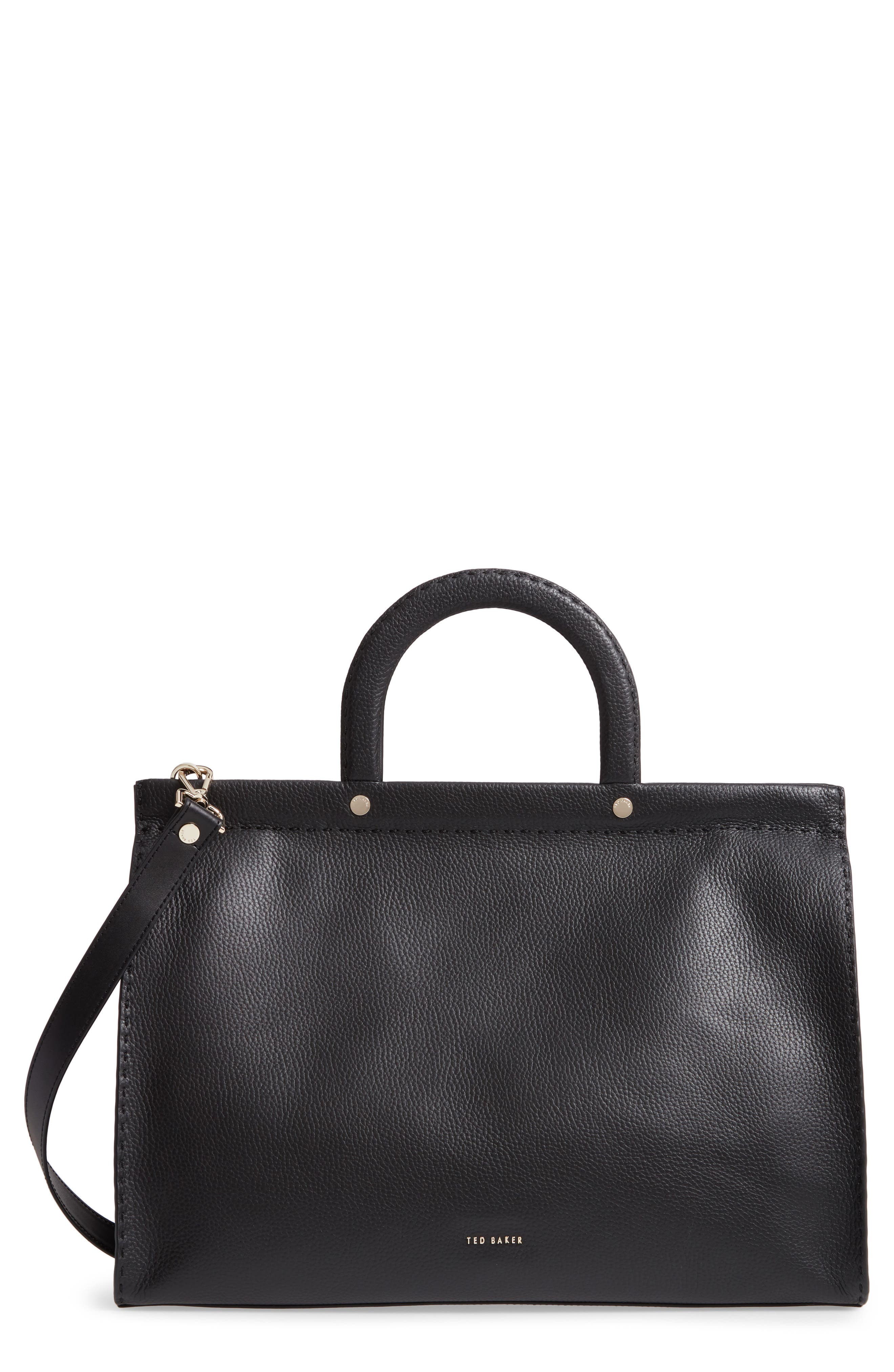 Miriian Stab Stitch Large Leather Tote, Main, color, BLACK