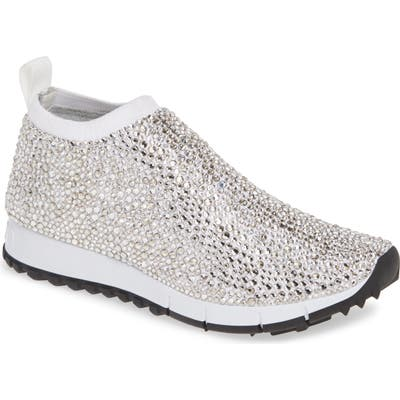 Jimmy Choo Nowary Crystal Embellished Slip-On Sneaker, White