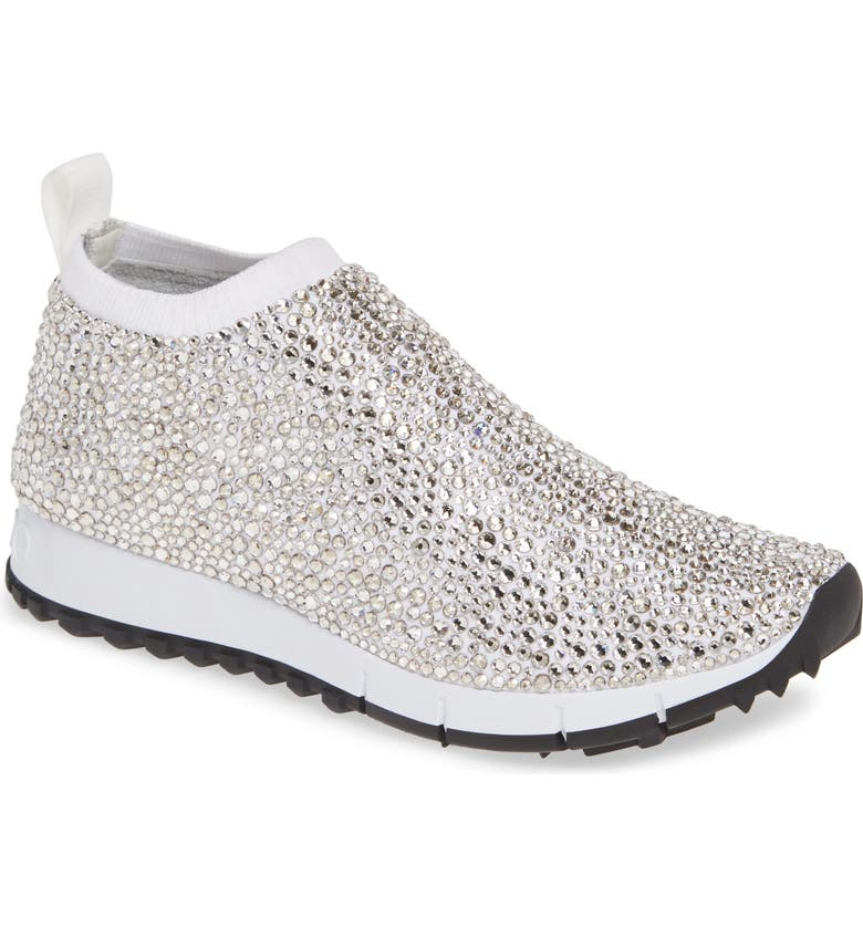 JIMMY CHOO Nowary Crystal Embellished Slip-On Sneaker, Main, color, WHITE/ CRYSTAL