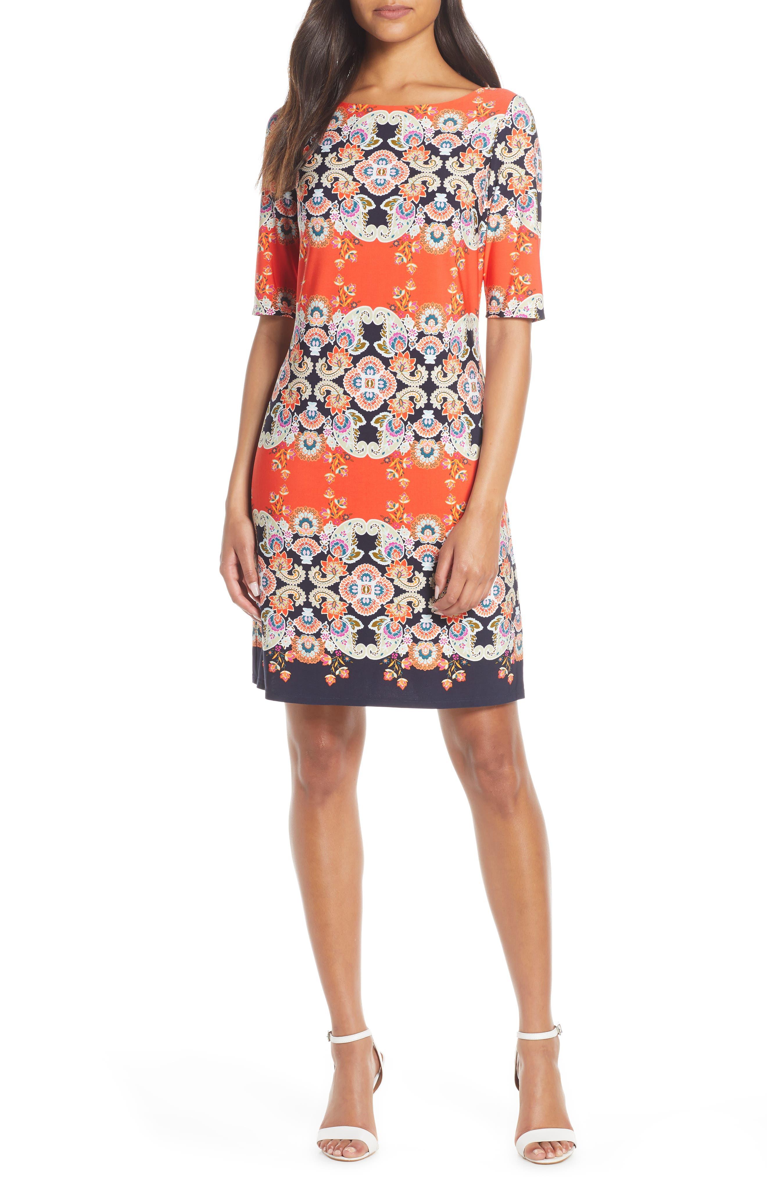 Petite Eliza J Print Bateau Neck Shift Dress, Orange