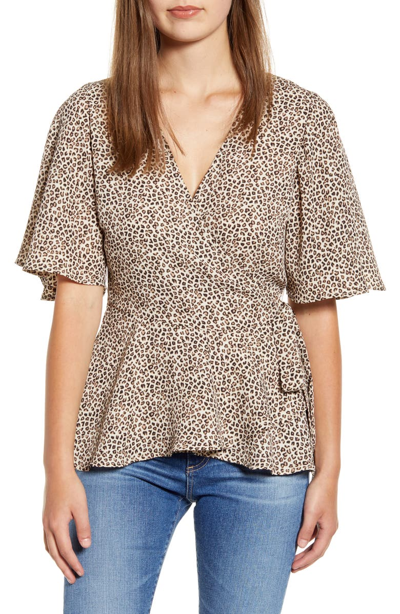 BOBEAU Angel Flutter Sleeve Wrap Blouse, Main, color, ANIMALISTIC PRINT