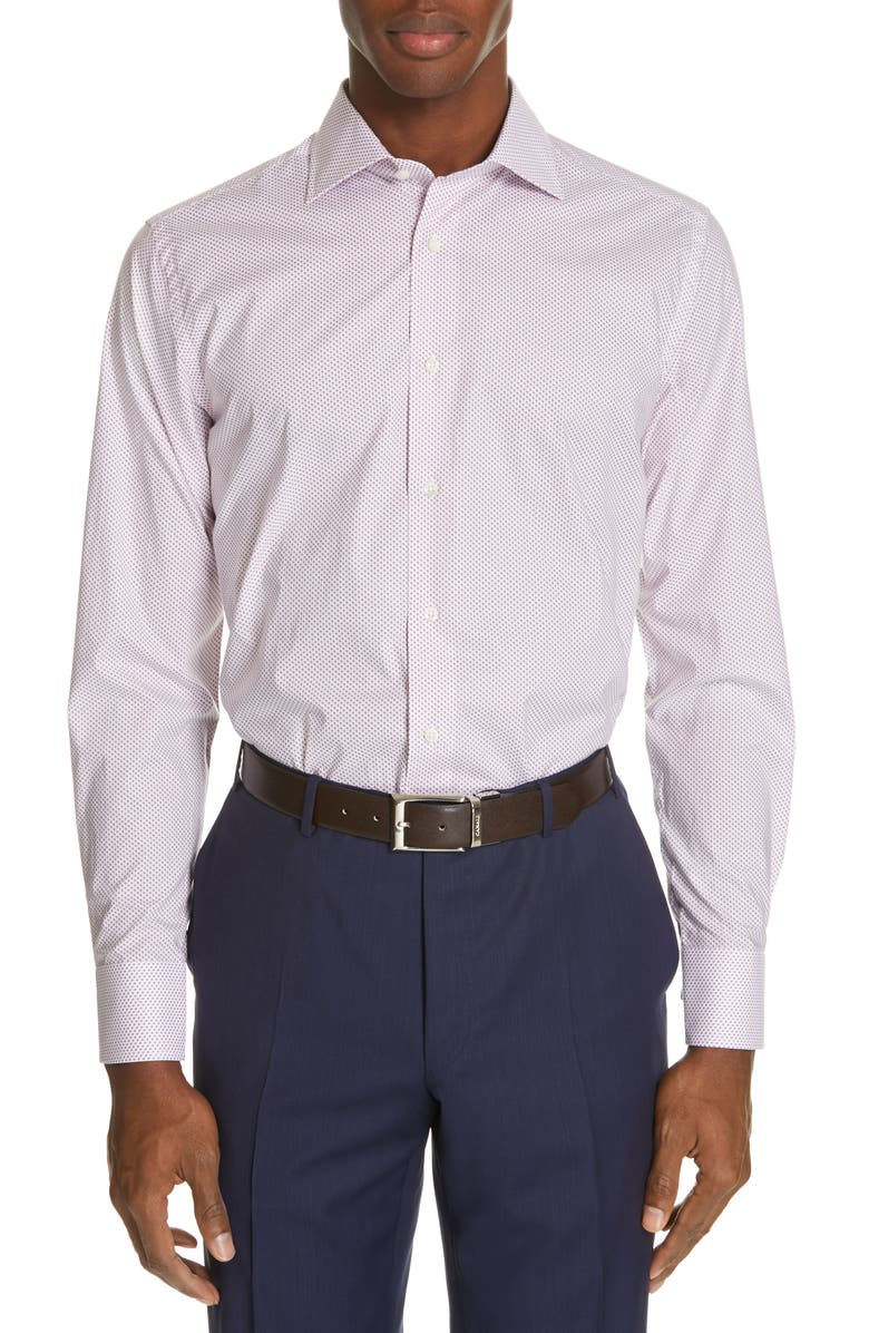 CANALI Slim Fit Dot Dress Shirt, Main, color, 630
