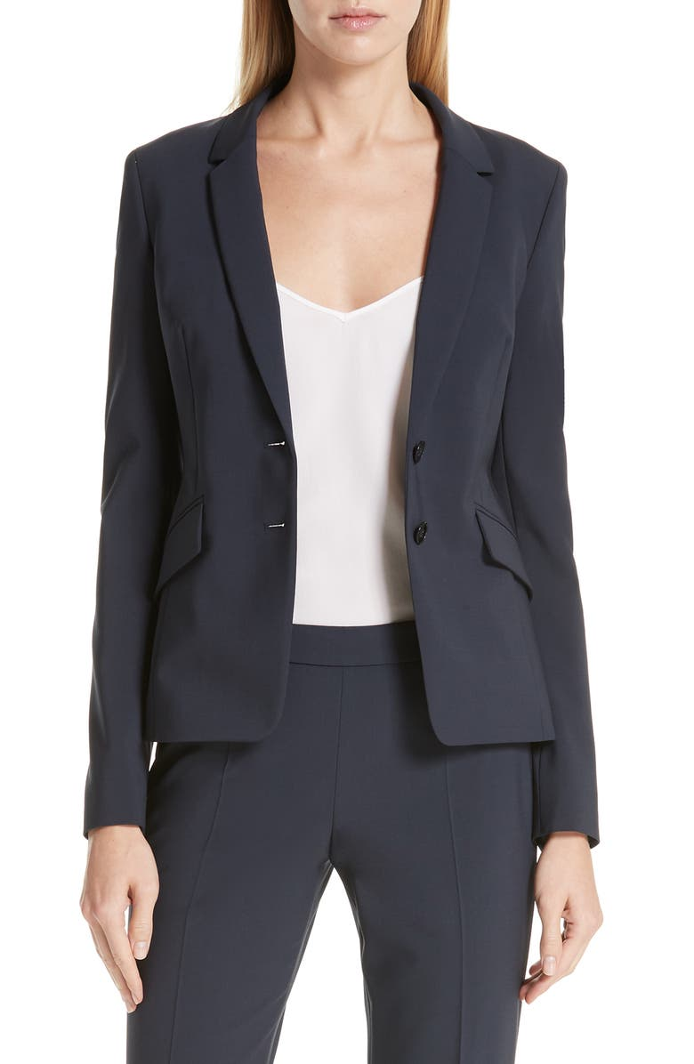 BOSS Jiletara Stretch Wool Jacket, Main, color, NAVY