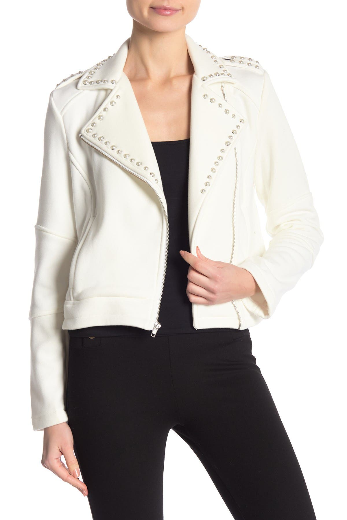 Image of cupcakes and cashmere Cropped Knit Moto Jacket