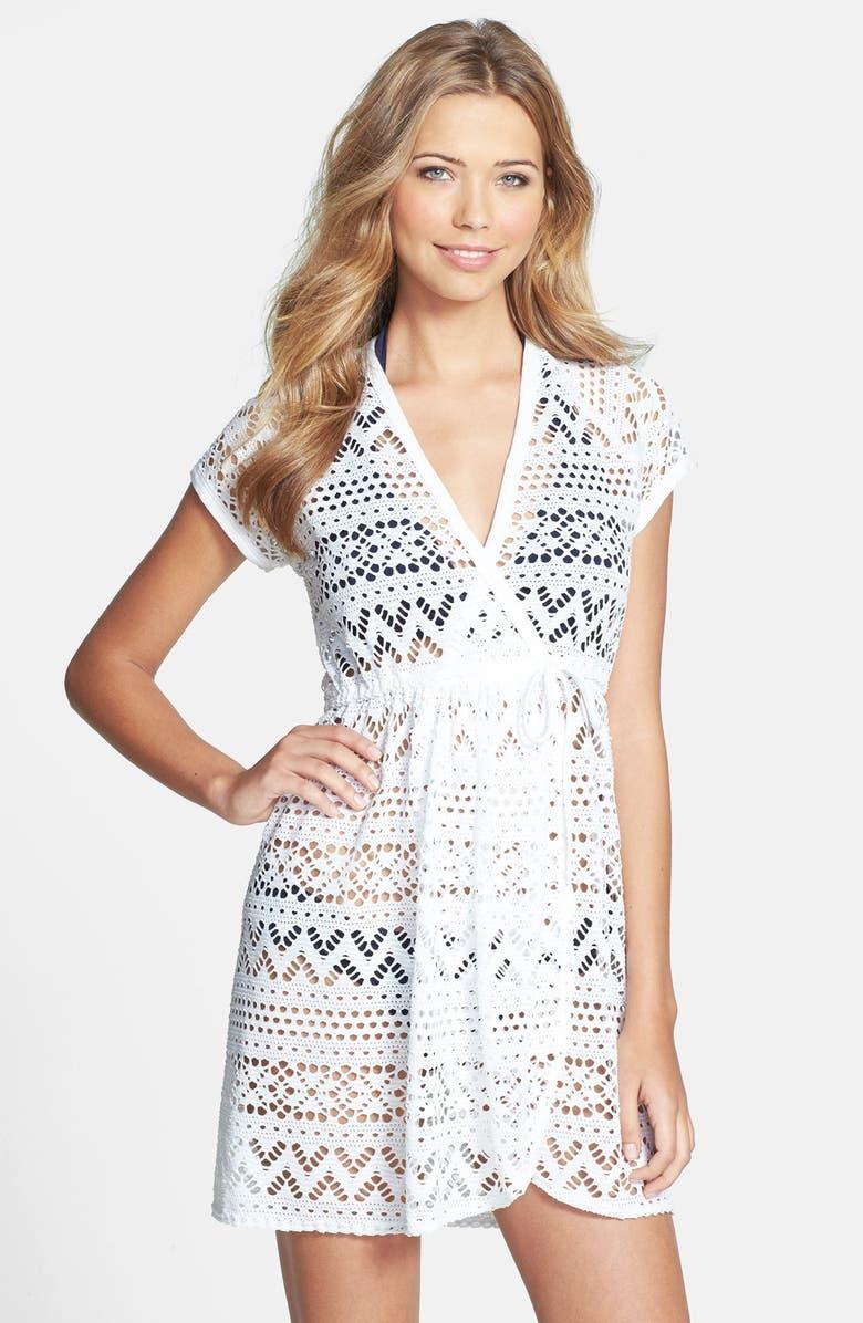 ROBIN PICCONE 'Penelope' Crochet Wrap Dress, Main, color, 100