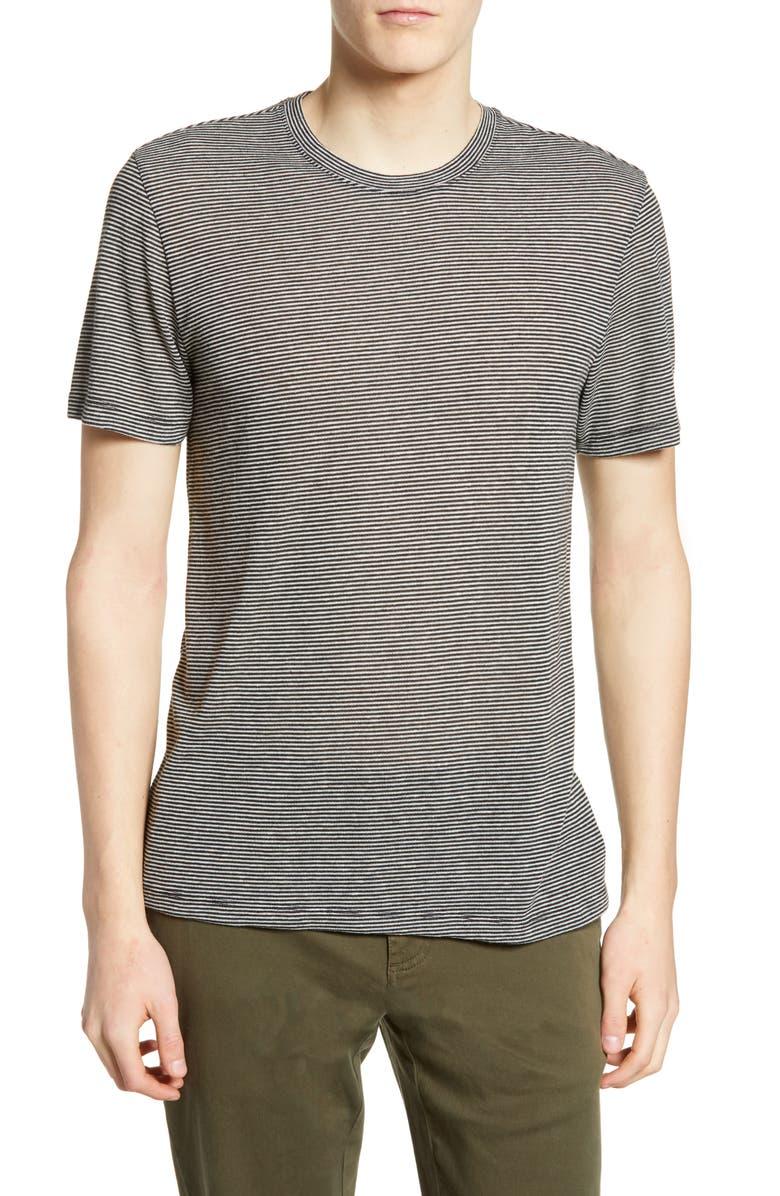 THE RAIL Pinstripe T-Shirt, Main, color, BLACK-WHITE TEXTURE STRIPE