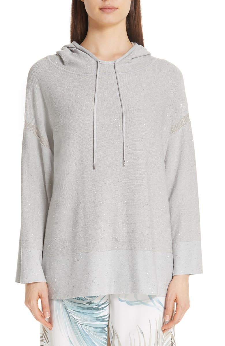 LAFAYETTE 148 NEW YORK Sequin Silk, Cotton & Cashmere Blend Hoodie, Main, color, 020
