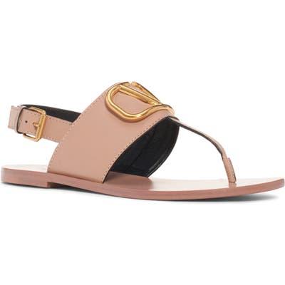 Valentino Garavani Logo Buckle Thong Sandal, Pink