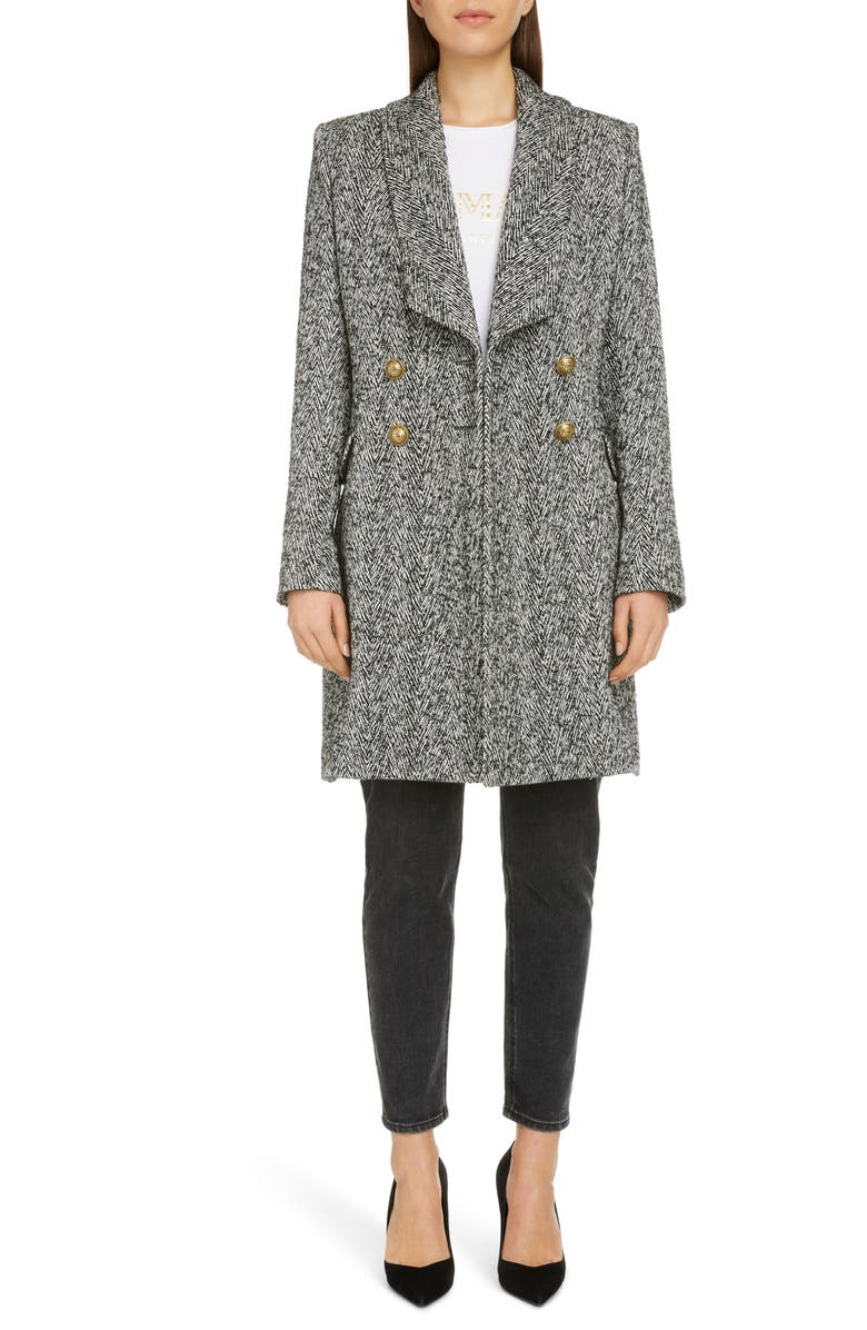 BALMAIN Double Breasted Chevron Tweed Coat, Main, color, NOIR/ BLANC
