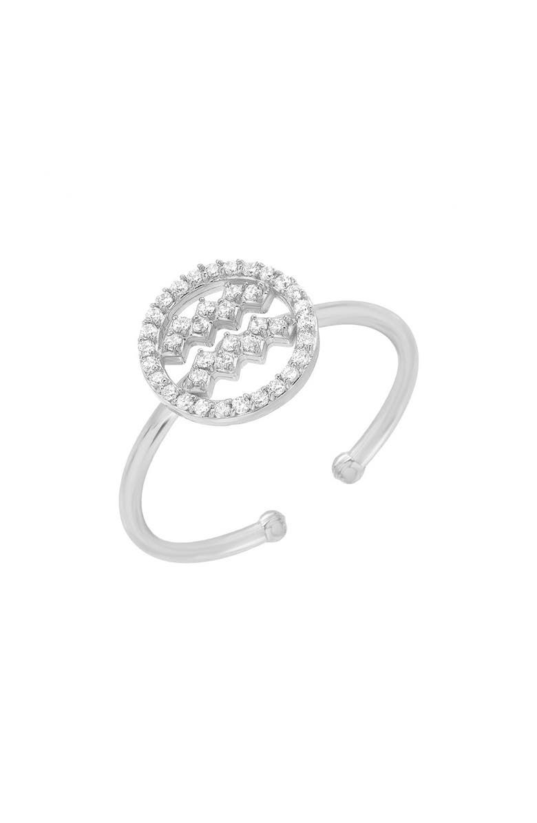 MINI MINI JEWELS Halo Zodiac Sign Diamond Ring, Main, color, WHITE GOLD-AQUARIUS