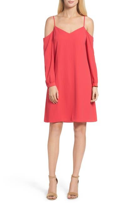 Image of Julia Jordan Cold Shoulder Long Sleeve Shift Dress