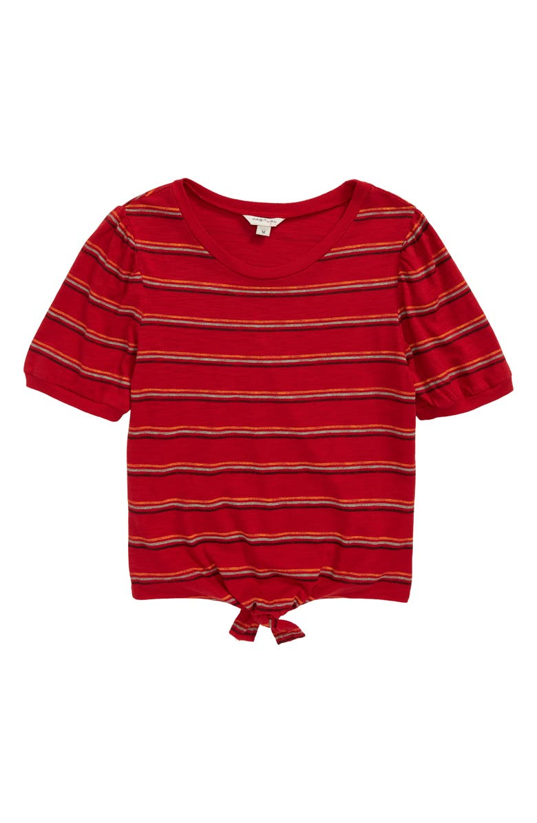HABITUAL Brynlee Stripe Front Tie Jersey Top, Main, color, RED