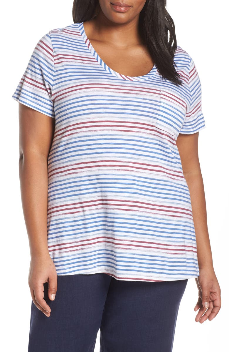 CASLON<SUP>®</SUP> Rounded V-Neck Tee, Main, color, WHITE- BLUE OMBRE STP