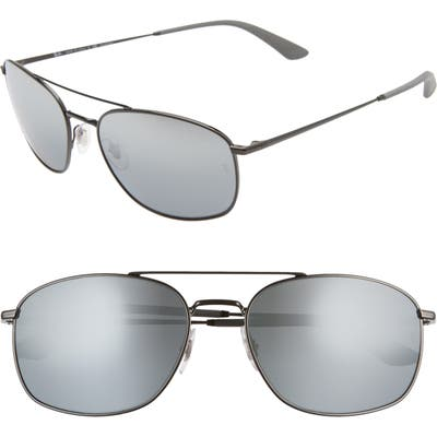 Ray-Ban 60mm Polarized Navigator Sunglasses - Black/ Grey Mirror