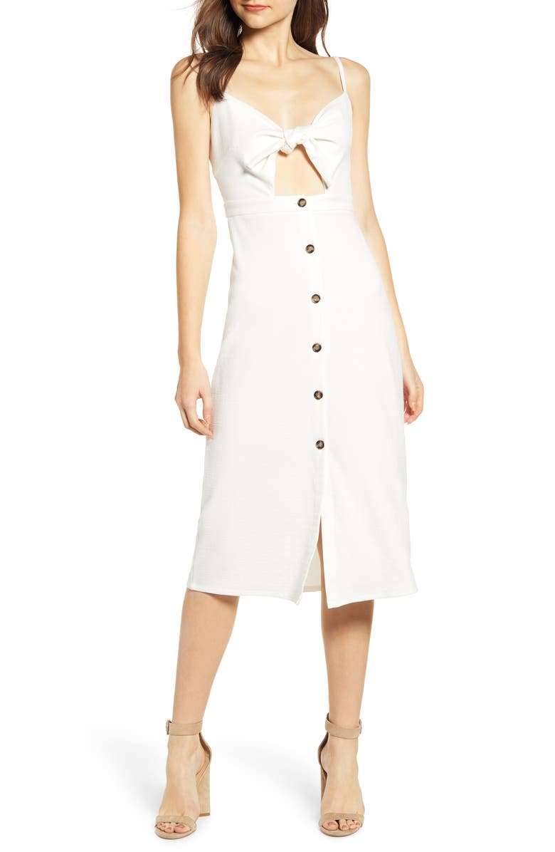 BISHOP + YOUNG Tie Bodice Midi Dress, Main, color, WHITE