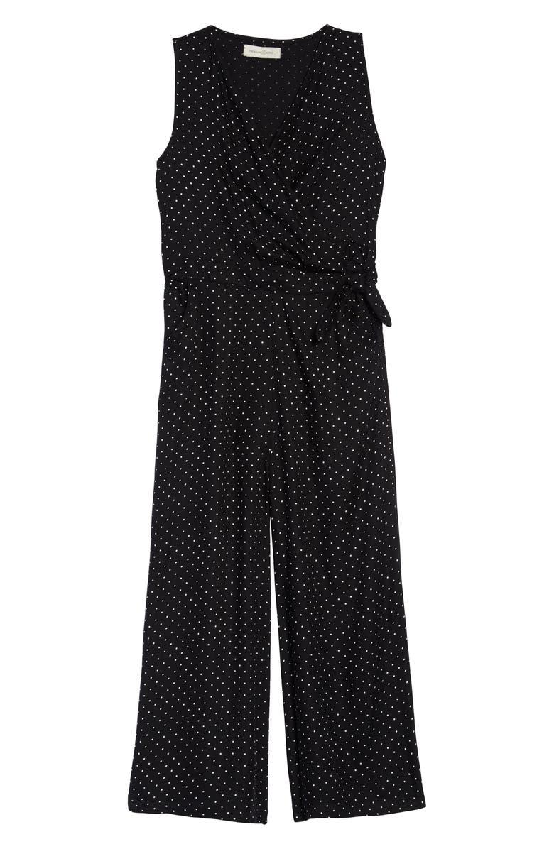 TREASURE & BOND Wrap Jumpsuit, Main, color, BLACK- IVORY DOT