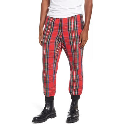 Wesc Tartain Plaid Jogger Sweatpants, Red