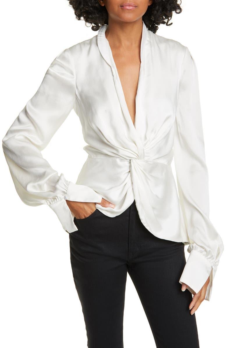 JONATHAN SIMKHAI Twist Front Charmeuse Blouse, Main, color, WHITE