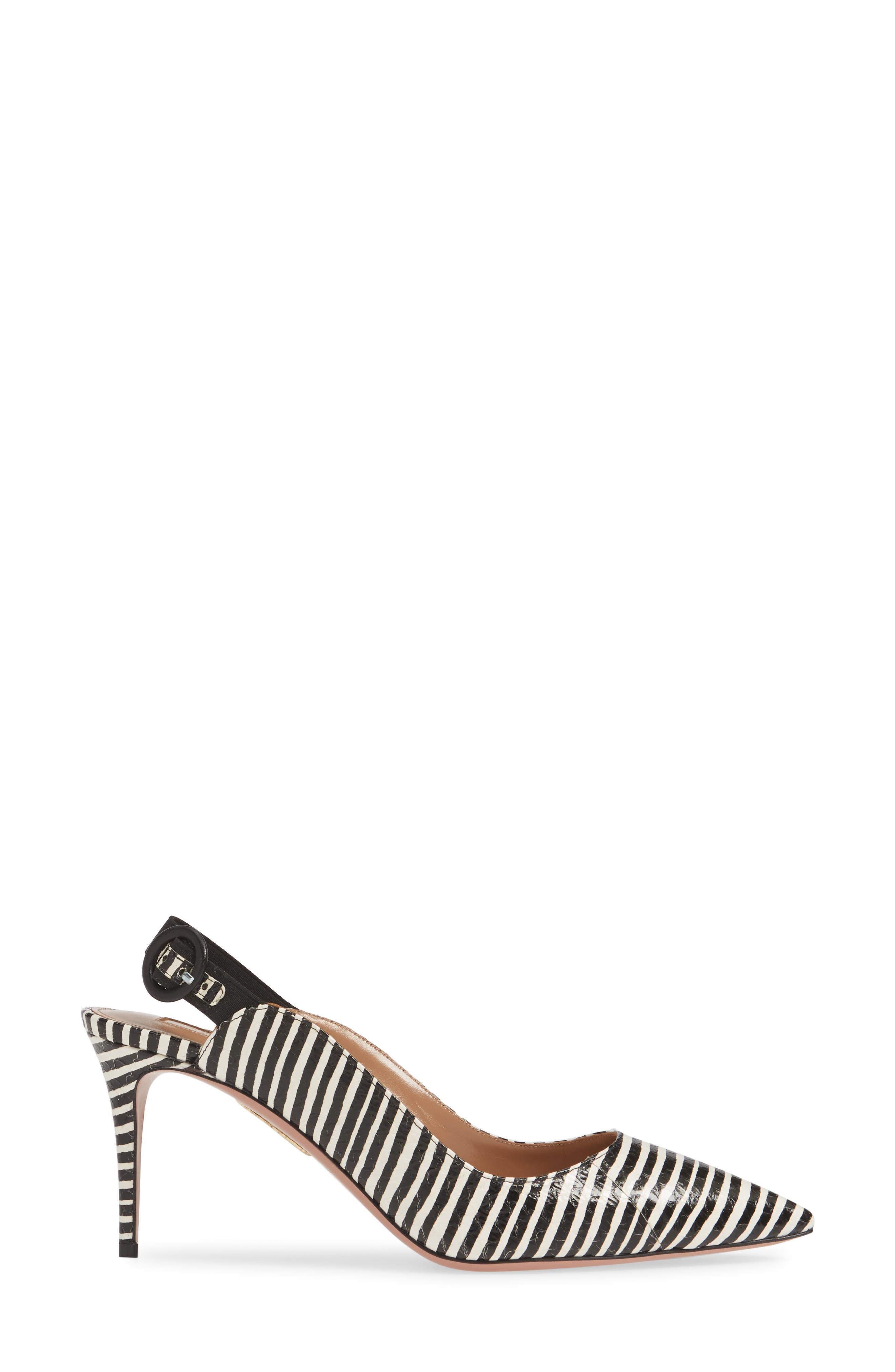 ,                             Yale Stripe Slingback Pump,                             Alternate thumbnail 3, color,                             BLACK/ WHITE