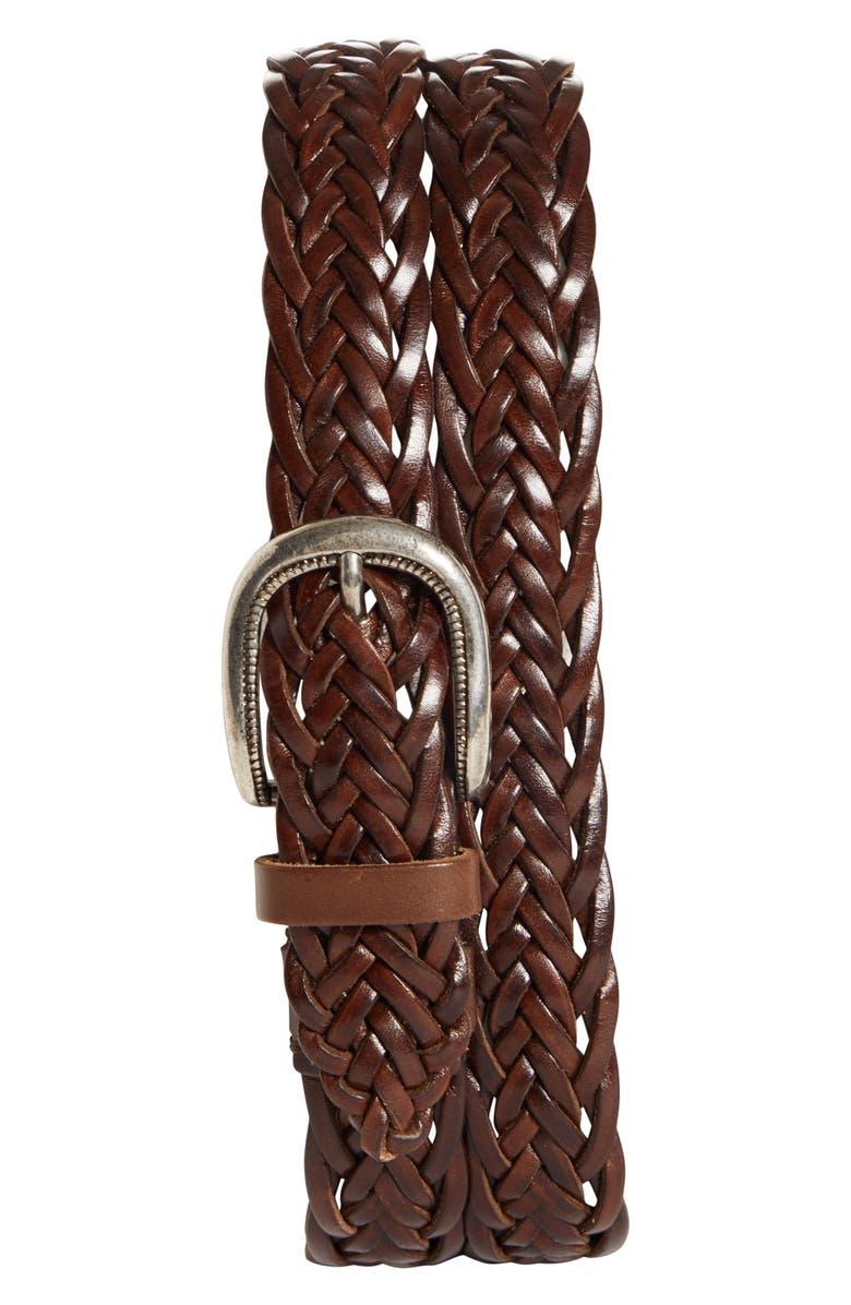 BRUNELLO CUCINELLI Braided Leather Belt, Main, color, DARK BROWN