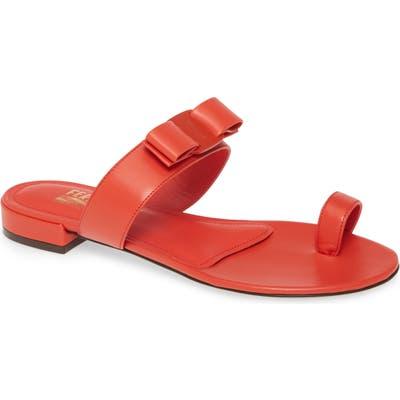 Salvatore Ferragamo Louisa Bow Toe Loop Sandal C - Red