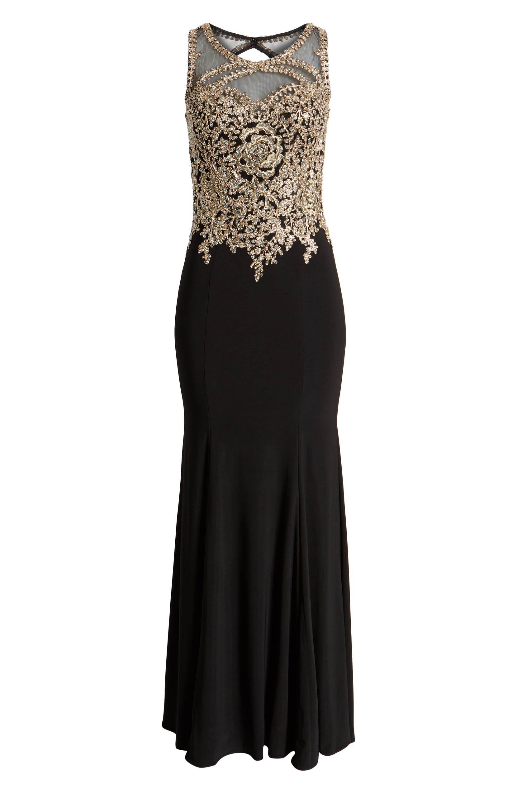 368afe33987 Xscape Golden Embroidered Bodice Evening Dress (Regular & Plus Size) |  Nordstrom