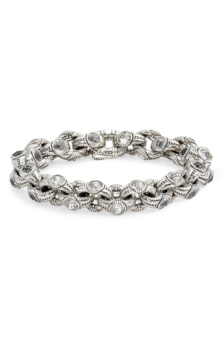KONSTANTINO Pythia Crystal Chain Link Bracelet, Main, color, SILVER/ CRYSTAL