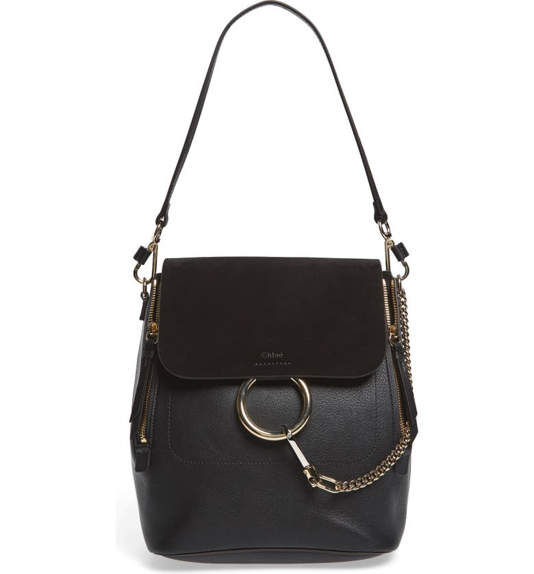 CHLOÉ Medium Faye Suede & Leather Backpack, Main, color, 001