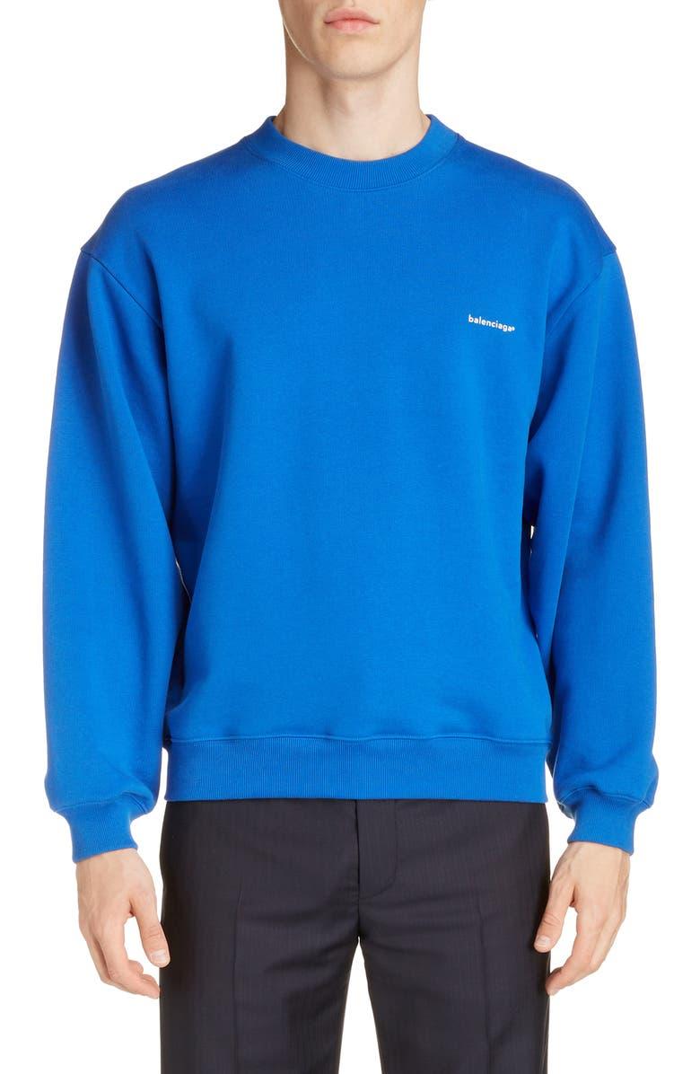 BALENCIAGA Crewneck Sweatshirt, Main, color, SAPHIR