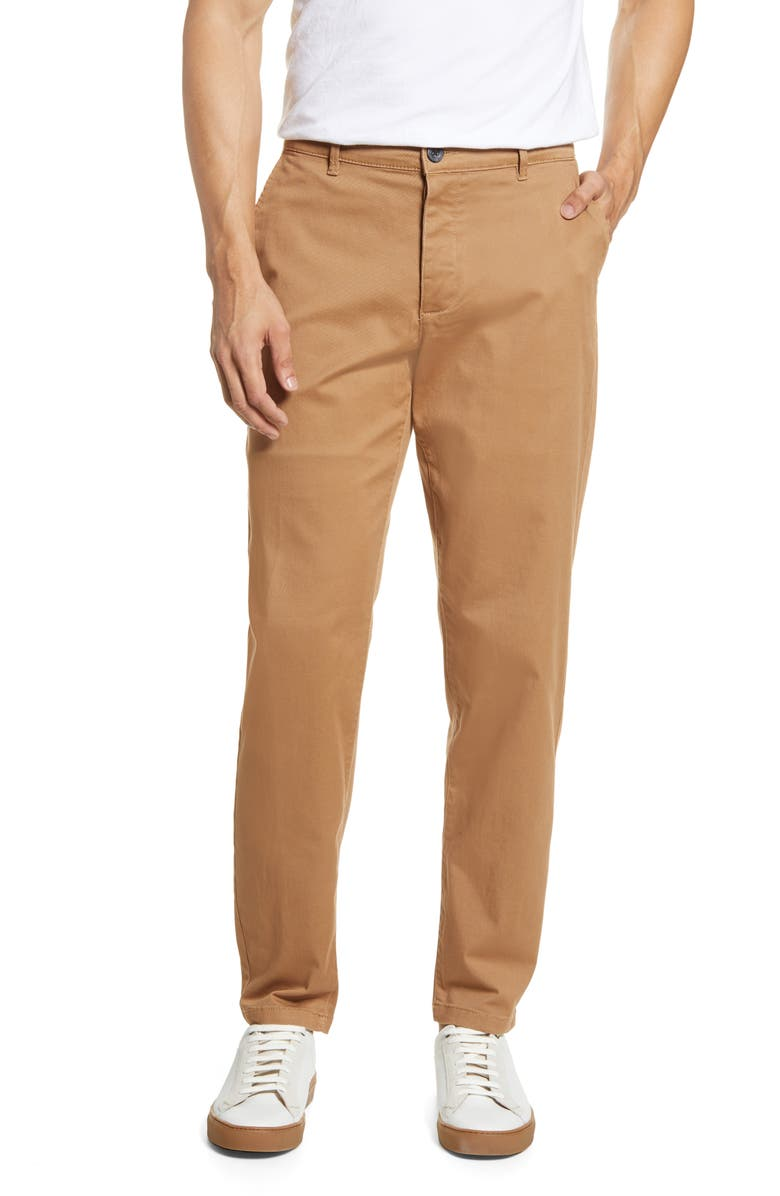 TOPMAN Tapered Stretch Cotton Chino Pants, Main, color, STONE