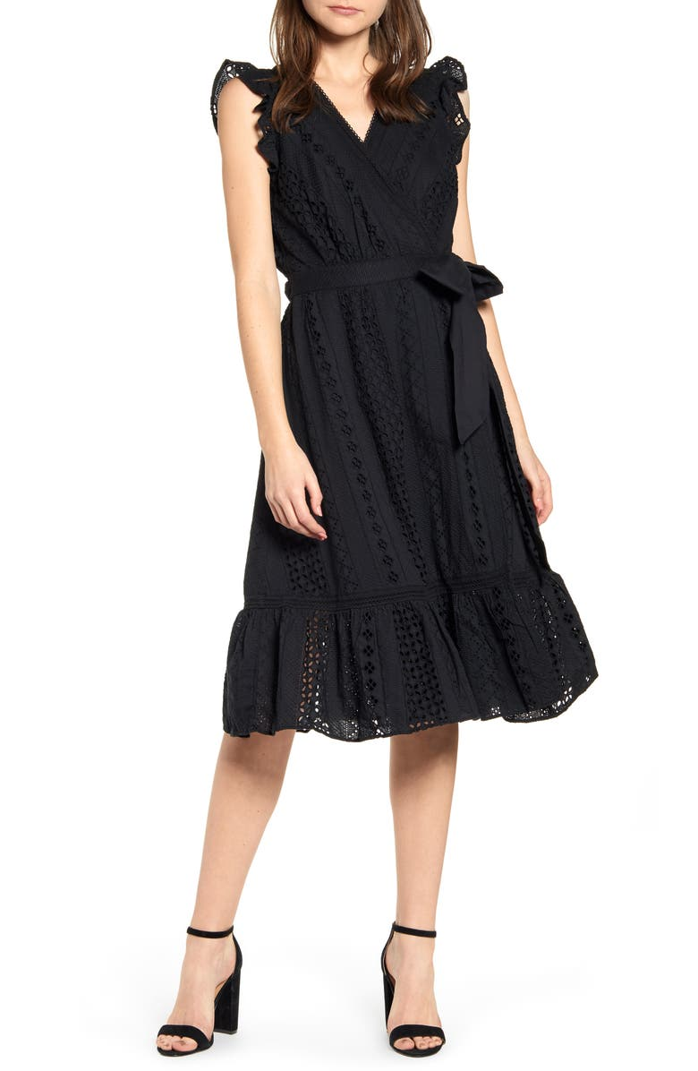 J.CREW All Over Eyelet Wrap Dress, Main, color, 001