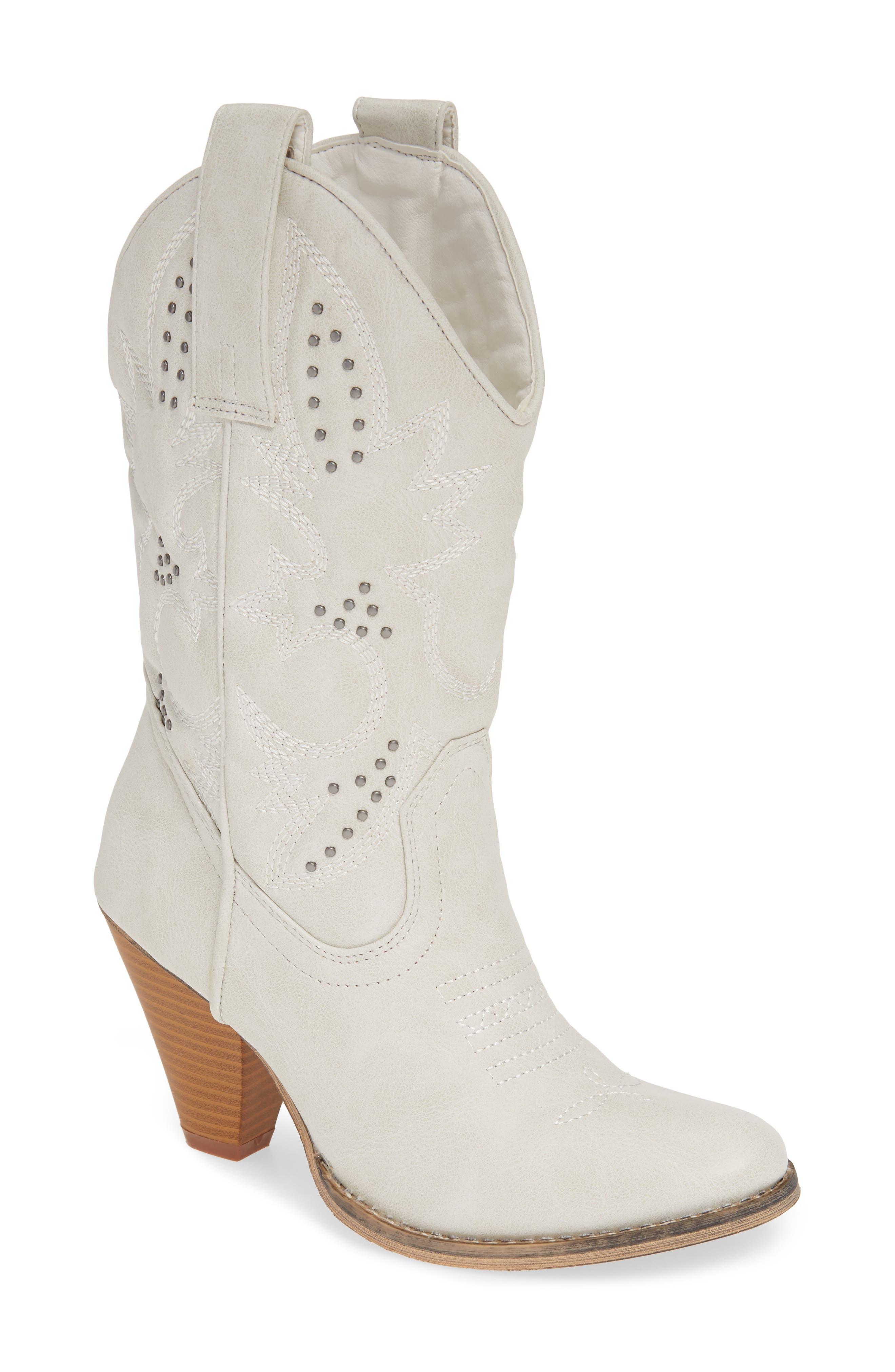 Very Volatile Wagonwheel Western Boot, White