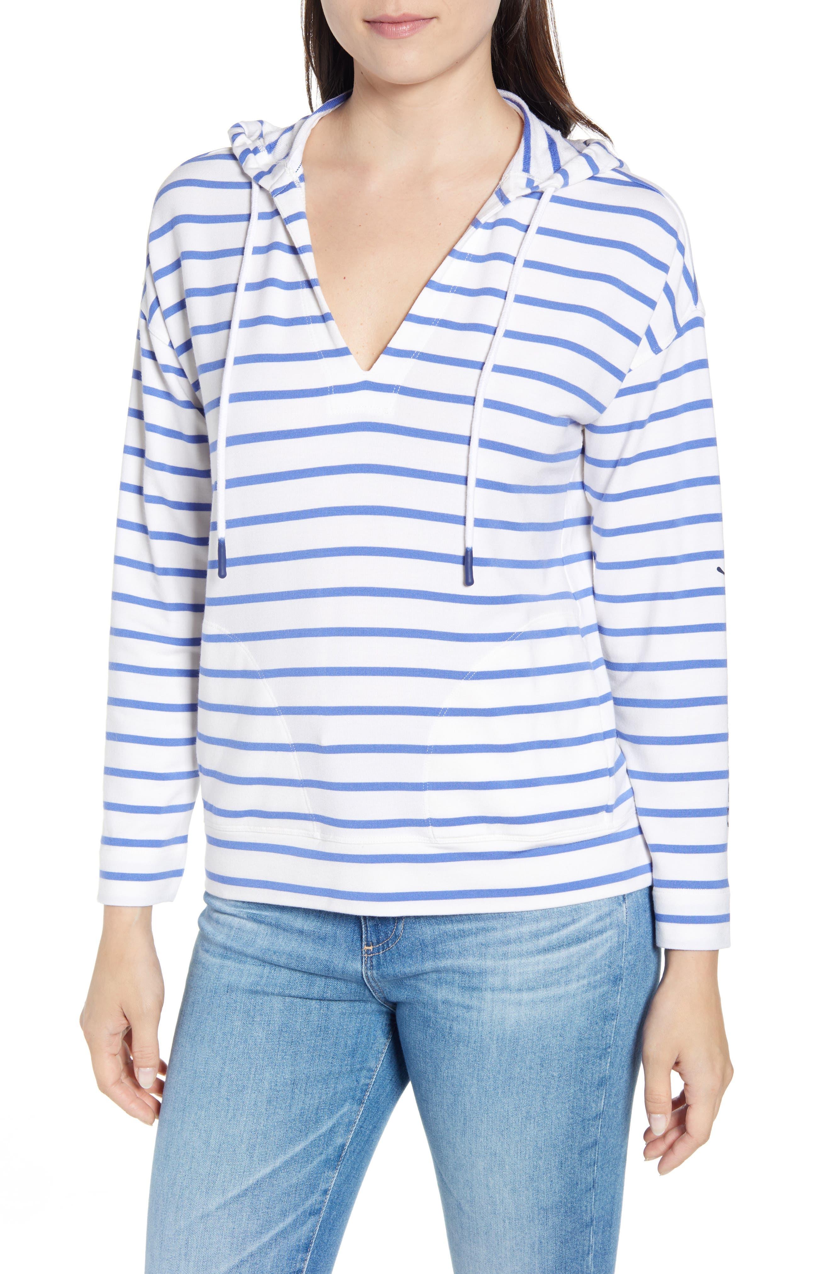 Vineyard Vines Stripe Popover Hooded Sweatshirt, Blue