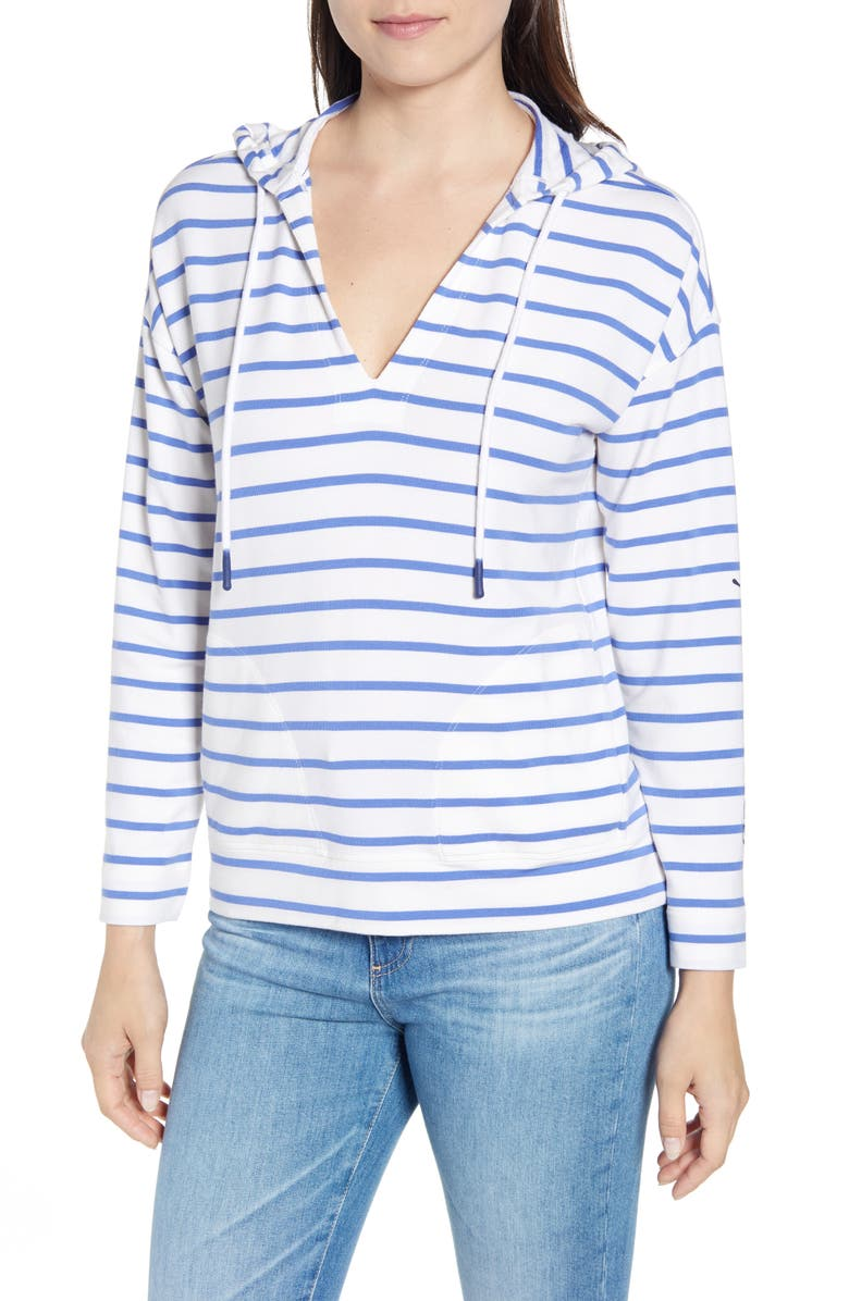VINEYARD VINES Stripe Popover Hooded Sweatshirt, Main, color, MARLIN