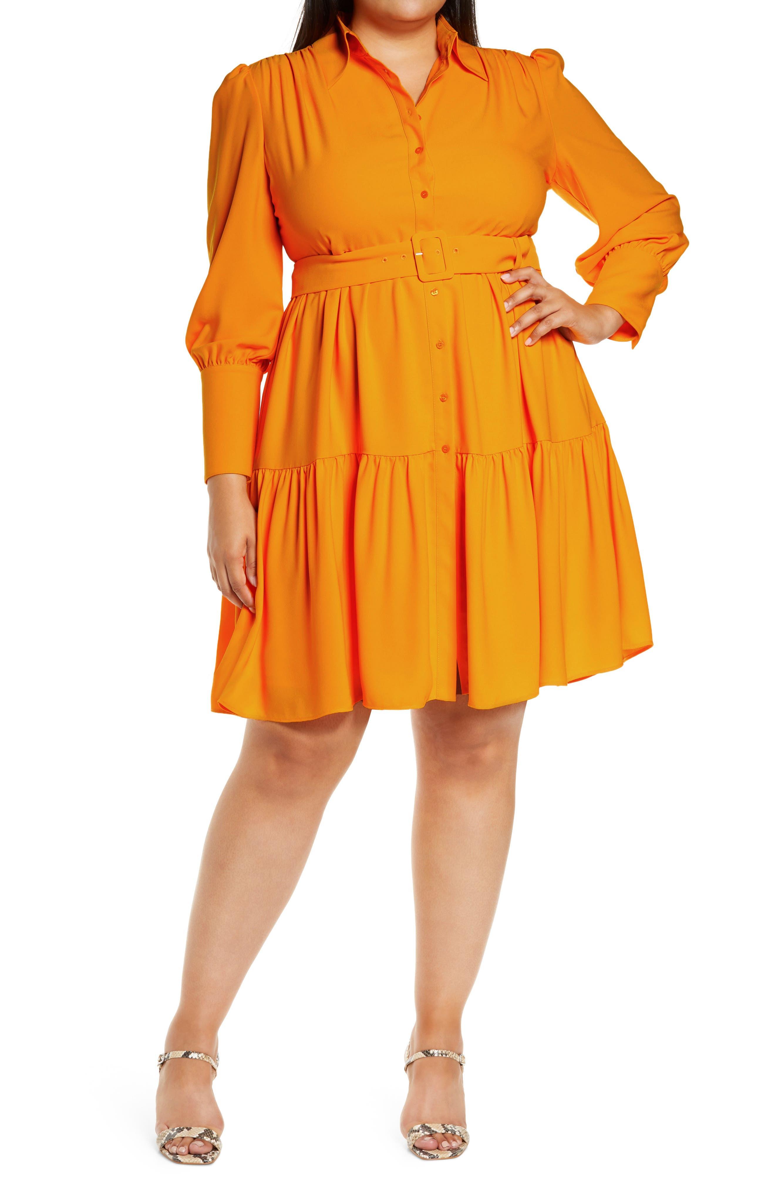 60s 70s Plus Size Dresses, Clothing, Costumes Plus Size Womens Halogen X Atlantic-Pacific Belted Long Sleeve Shirtdress Size 26W - Orange $119.00 AT vintagedancer.com