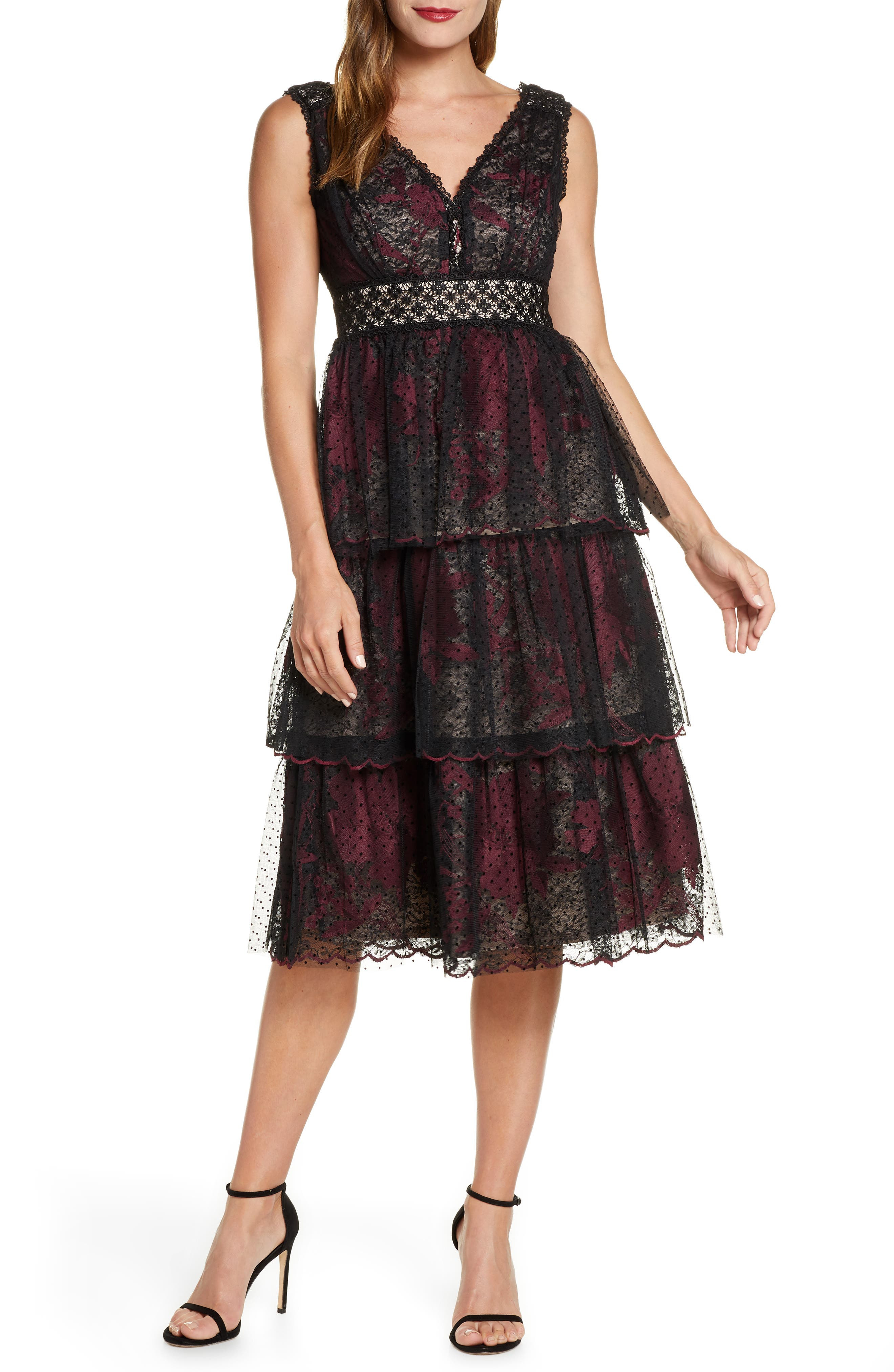 Image of Taylor Embroidered Floral & Lace Mesh Dress