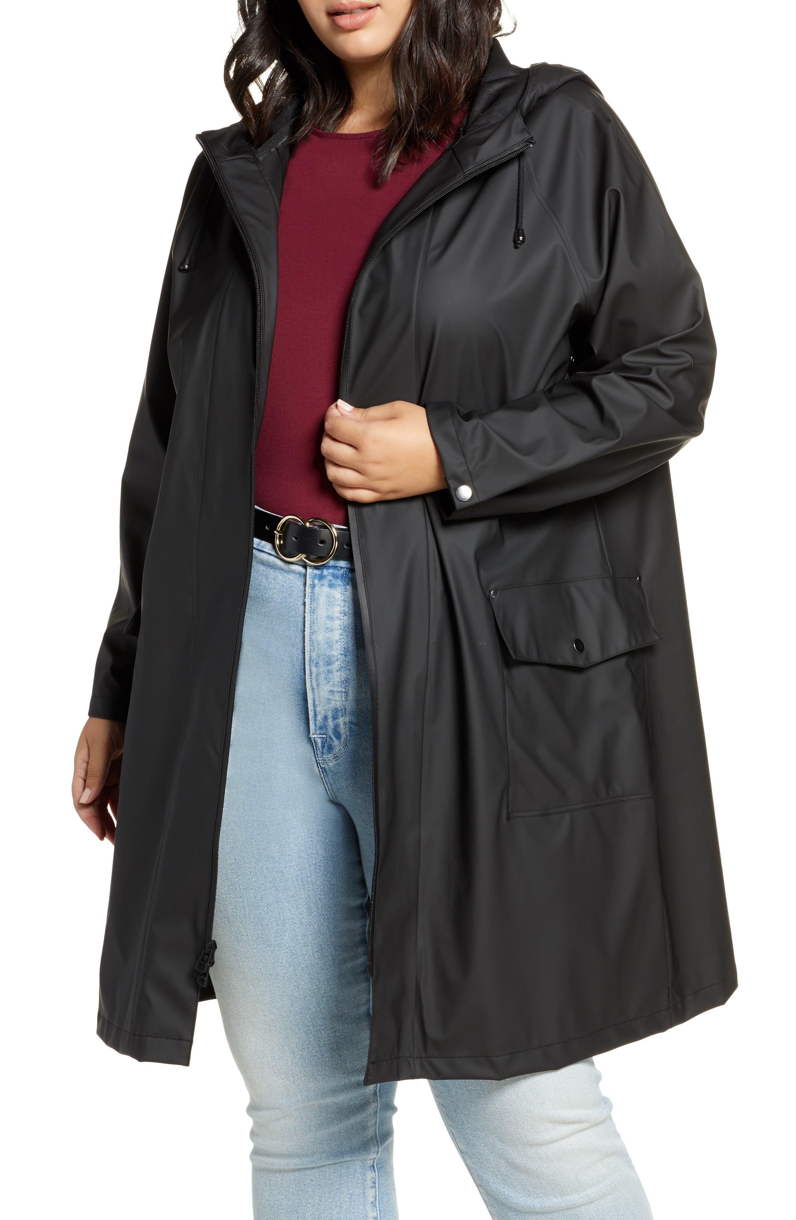 Halogen® Waterproof Hooded Rain Jacket (Plus Size)