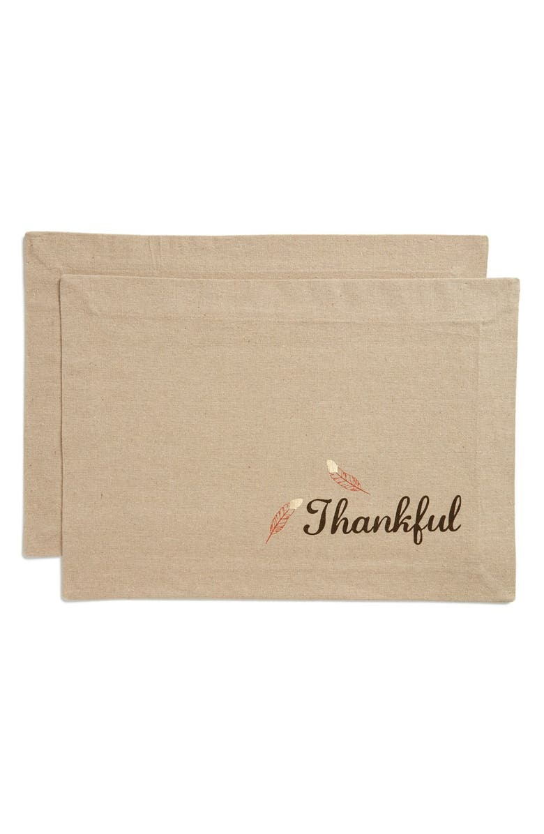 LEVTEX 'Thankful' Placemats, Main, color, 250